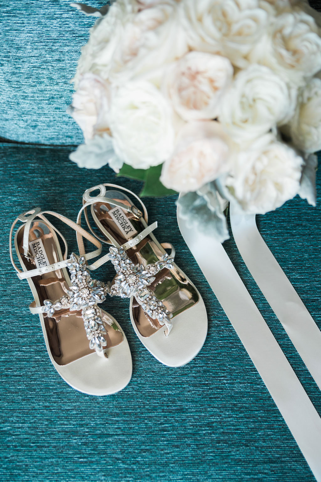 White Rose with Greenery and Ribbon Bridal Bouquet and Jeweled Open Toe Sandal Badgley Mischka Beach Wedding Shoes