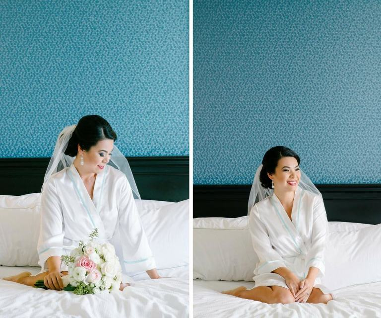 Asian Bride Getting Ready Hotel Interior Portrait, with White and Pink Bouquet and Comb Veil in White Silk Robe