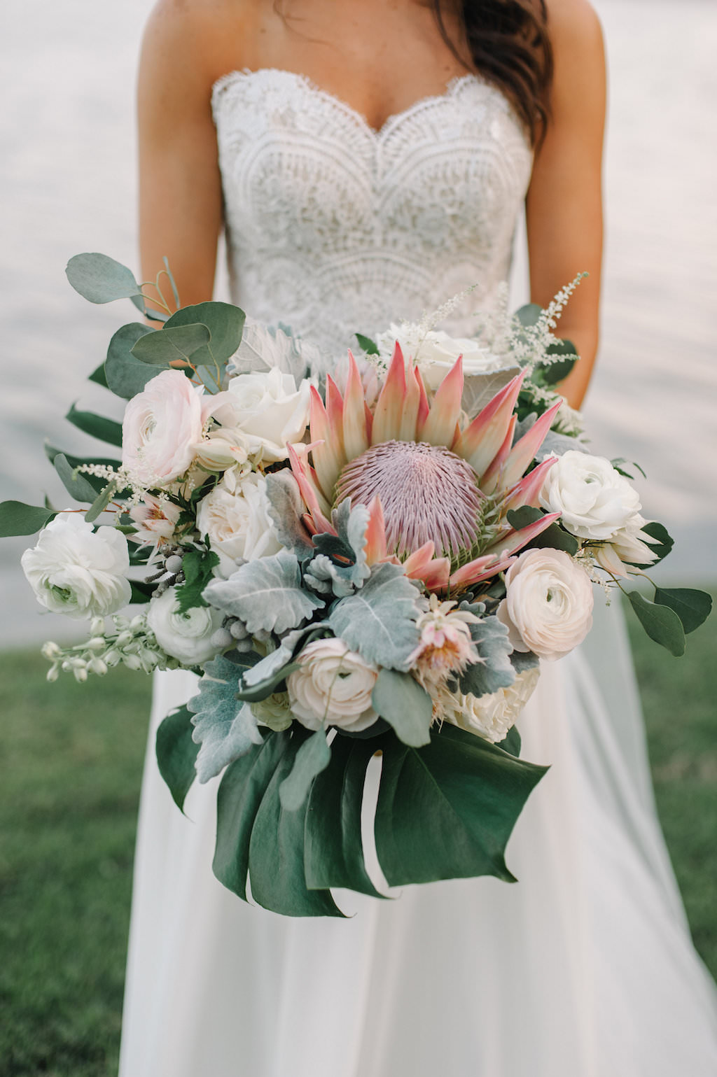 Organic Greenery Inspired Large Neutral Pastel Wedding Bouquet for Outdoor Waterfront Wedding