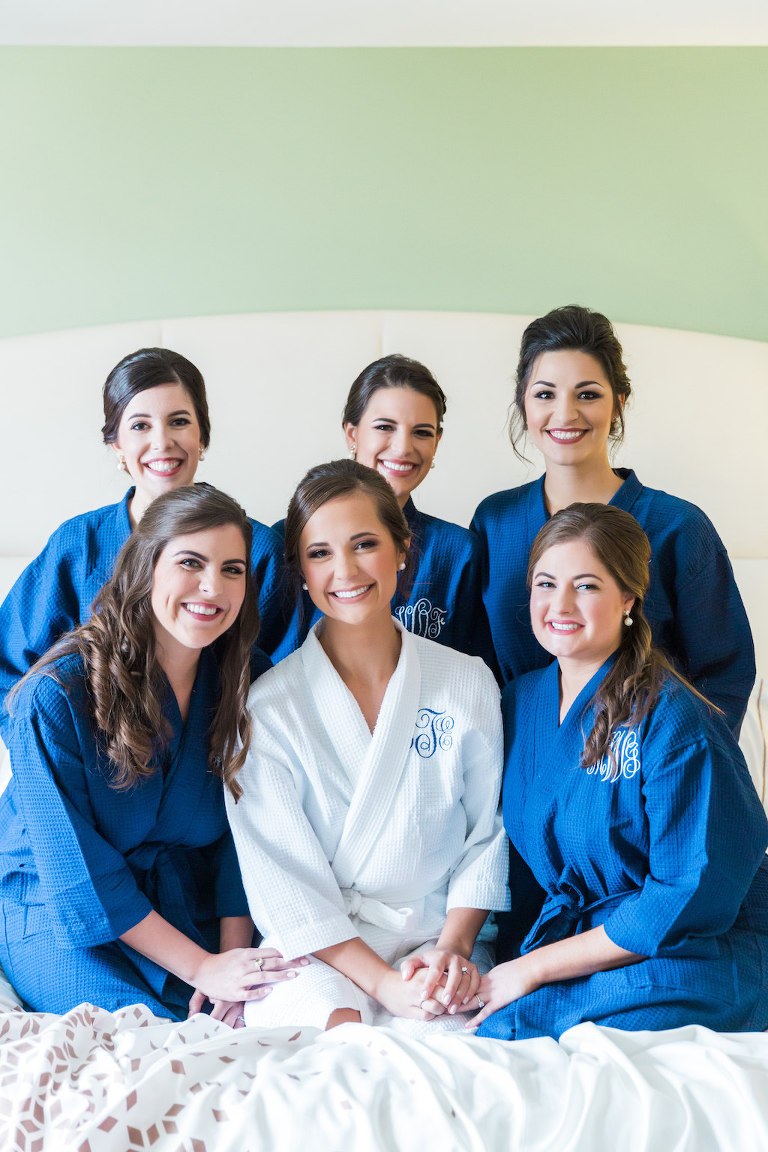 Bridal Party Getting Ready Portrait in Blue and White Monogrammed Robes | Wedding Hair and Makeup Michele Renee The Studio