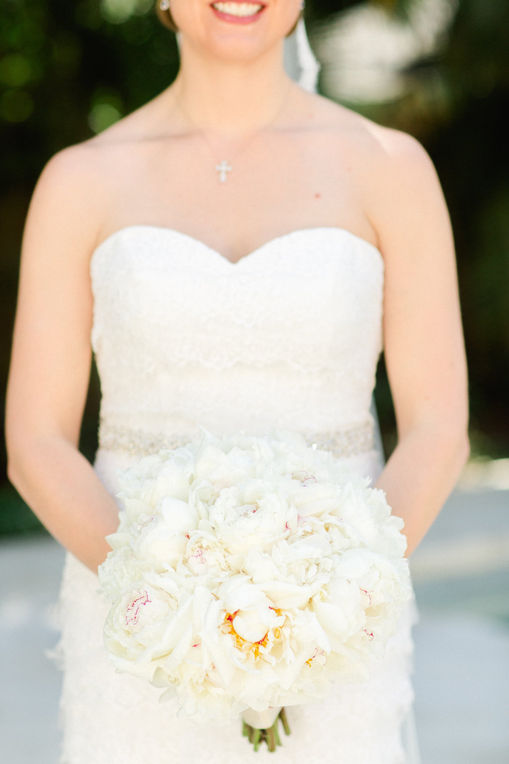 Outdoor Bridal Portrait in Strapless Wedding Dress with White Peony Bouquet   Tampa Bay Wedding Photographer Ailyn La Torre Photography