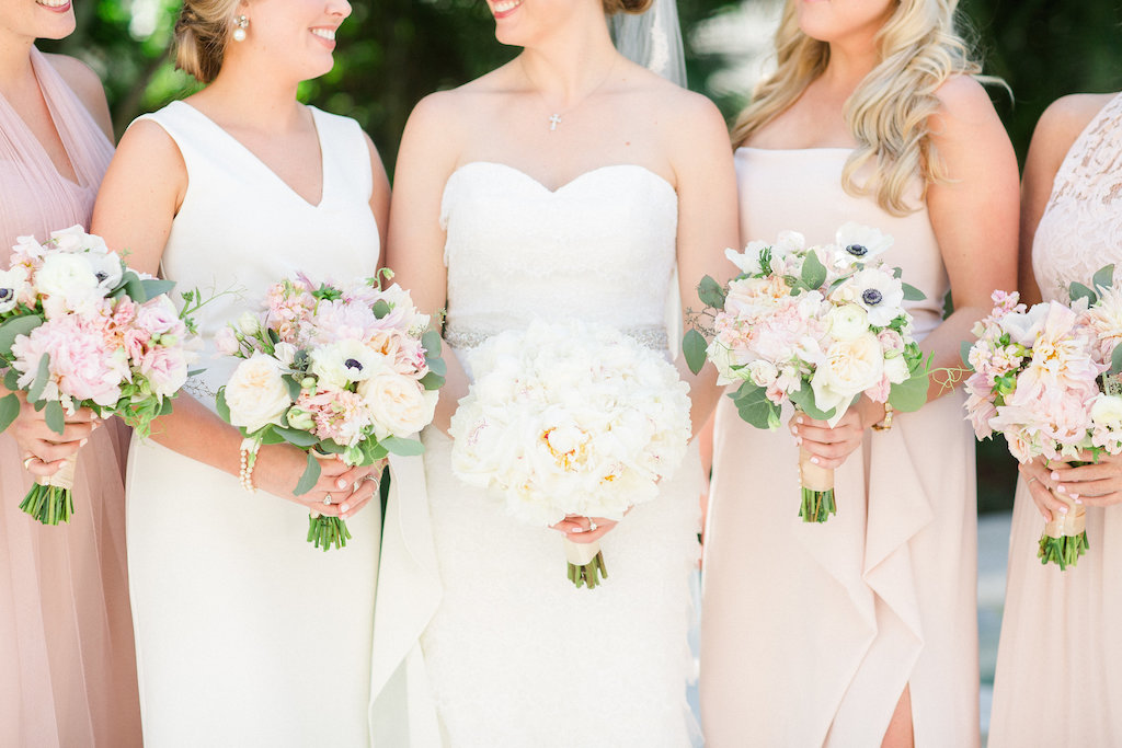 Outdoor Bridal Party Portrait, Bride in Strapless Robert Bullock Wedding Dress with White Peony Bouquet, Bridesmaids in Mismatched Blush Dresses with White Anemony, Blush Floral, and Greenery Bouquets   Tampa Bay Wedding Photographer Ailyn La Torre Photography
