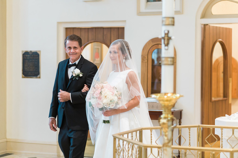 Traditional Church Wedding Ceremony Portrait with Father of the Bride, Bride with White and Pink Peony Bouquet