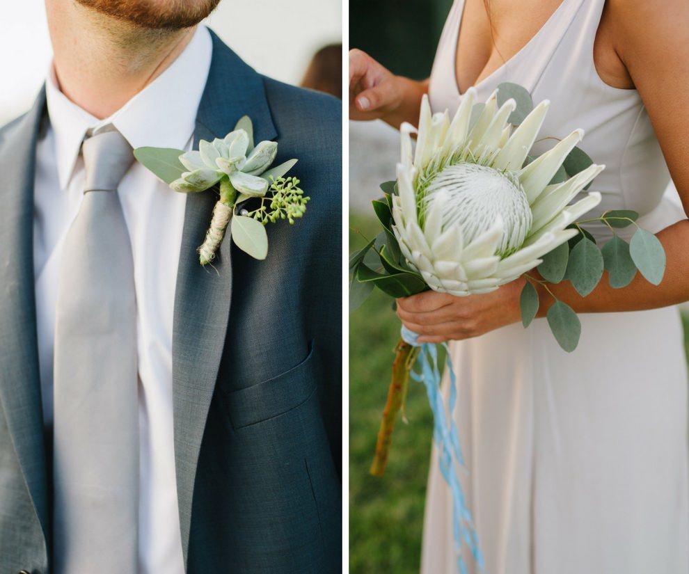 Succulent Organic Groomsmen Boutonniere and Single Flower Bridesmaid Bouquet