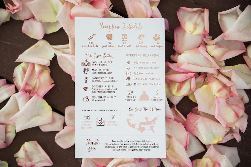 Infographic Rose Gold Foil Creative Printed Wedding Program