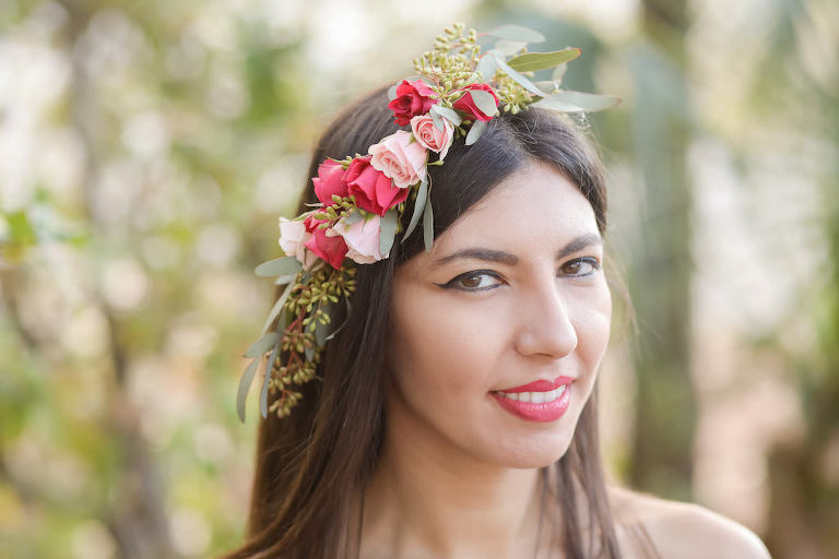 Outdoor Bridal Portrait with Pink and Red Rose with Greenery Floral Crown | Tampa Bay Wedding Florist Gabro Event Services | Photographer Lifelong Photography Studios