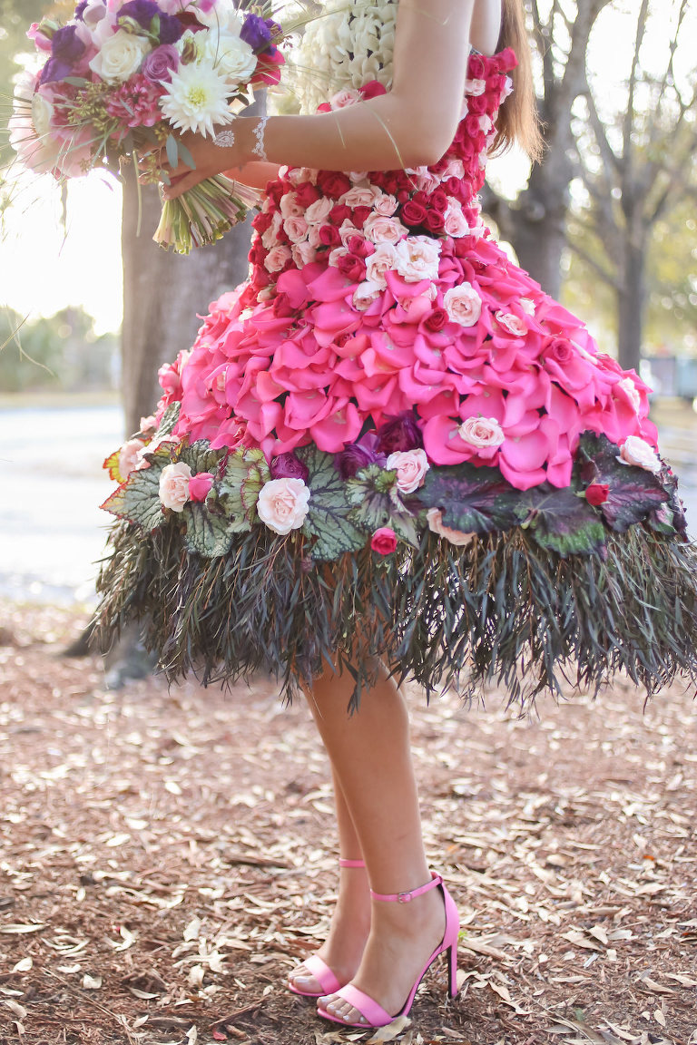 Outdoor Bridal Portrait in Creative Flower Dress with Pink, Fuchsia, Purple, Red and White Florals with Greenery and Pink Open Toe Stiletto Heels | Tampa Wedding Florist Gabro Event Services