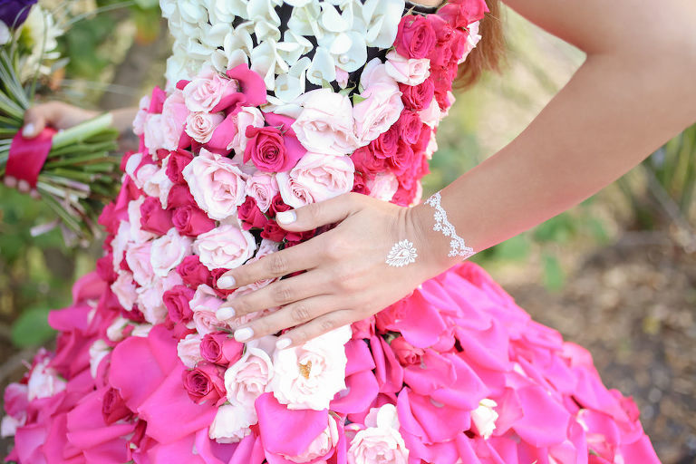Outdoor Bridal Portrait in Creative Flower Dress with Pink, Fuchsia, Purple, Red and White Florals with Greenery and White Temporary Tattoos | Tampa Wedding Florist Gabro Event Services | Photographer Lifelong Photography Studios