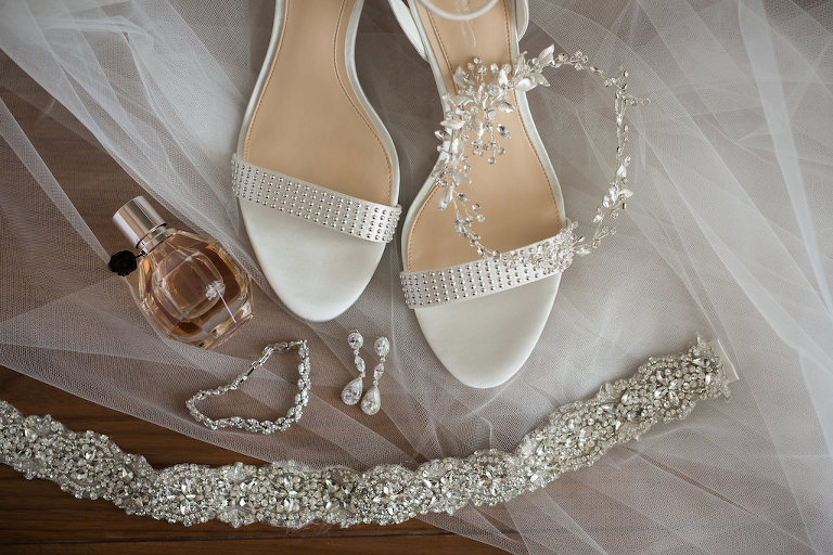 Silver and White Open Toe Sandal Wedding Shoes with Silver Floral Hair Accessory, Jeweled Garter, and Crystal Drop Earrings and Bridal Accessories