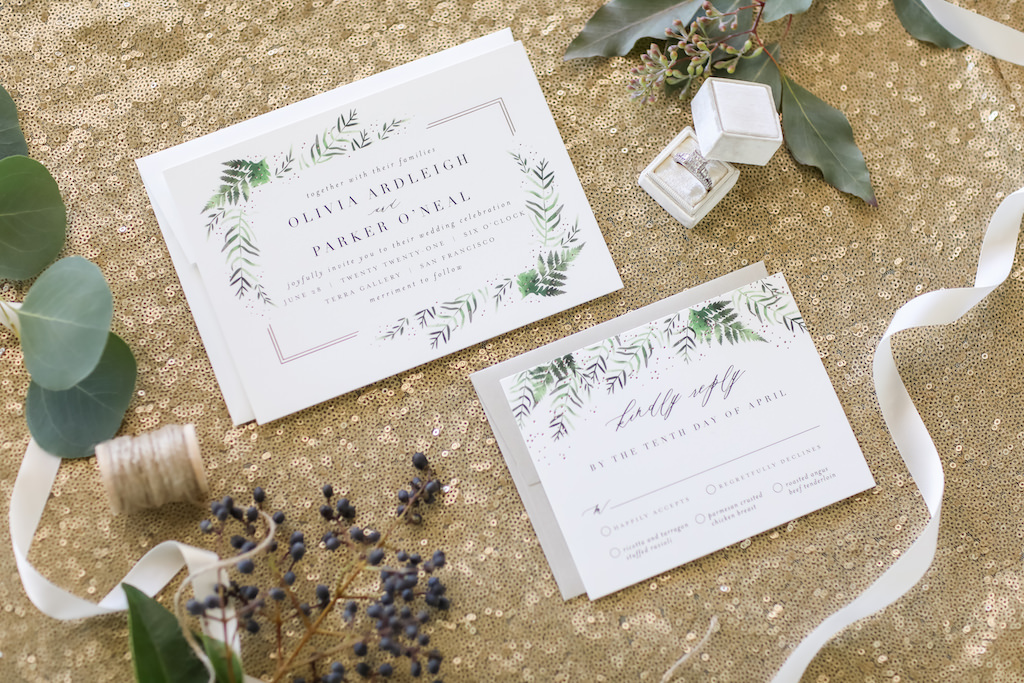 Elegant Greenery Fern Gray and White Printed Wedding Invitation Suite