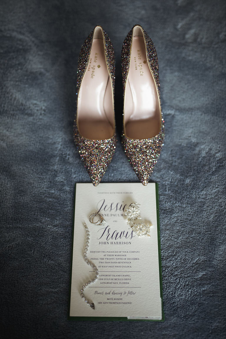 Rainbow Glitter Beaded Pointed Toe Kate Spade Wedding SHoes with Stylish Green and White Wedding Invitation and Bridal Jewelry