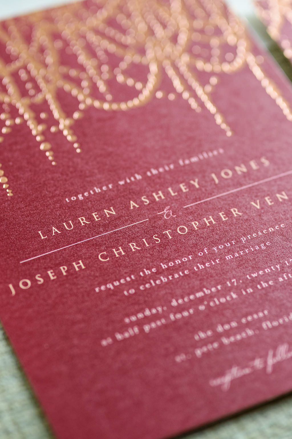 Modern Romantic Gold Printed on Red Paper Wedding Invitation with Foil Chandelier Design