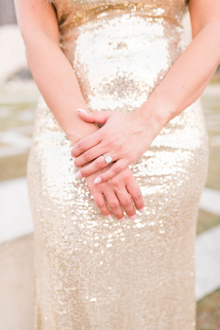Classy Engagement Portrait, Bride to Be in Gold Sequin Dress