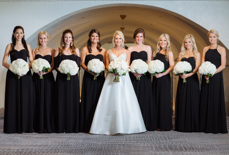 Bridal Party In Matching Black Bridesmaids Dresses With White