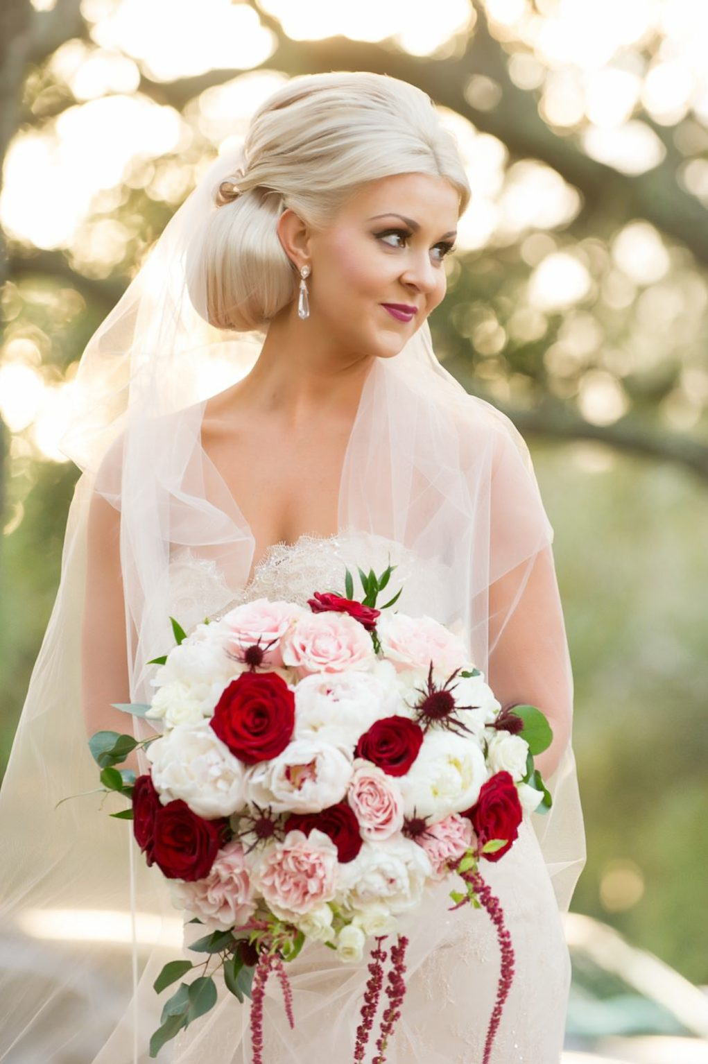 Outdoor Park Bridal Portrait in Blush Pink Strapless Wedding Dress with Red Rose, Blush Pink and White Floral and Greenery Bouquet | Tampa Bay Wedding Photographer Andi Diamond Photography | Hair and Makeup Michele Renee The Studio