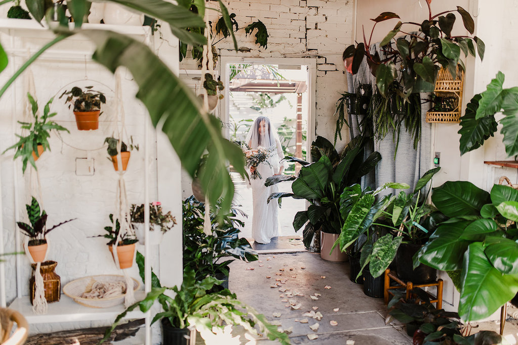 Indoor Bridal Portrait with Veil, Silver Sequinned BHDLN Wedding Dress, Peach Rose and Greenery Bouquet | Tampa Intimate Elopement Venue Fancy Free Nursery