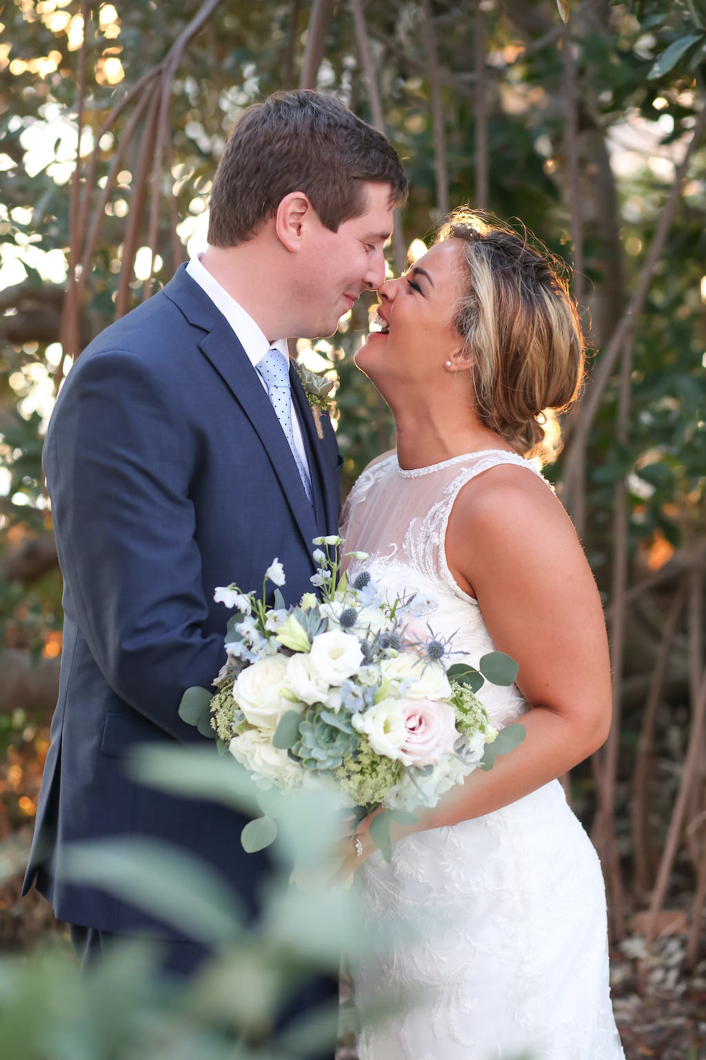 Outdoor Garden Wedding Portrait with White Rose and Natural Greenery Bouquet, Bride in Lace Dress | St Petersburg Wedding Photographer Lifelong Photography Studio | Hair and Makeup Lindsay Does Makeup LDM Beauty Group