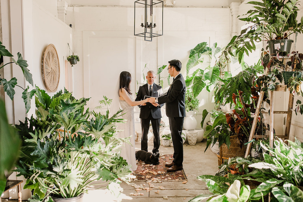 Indoor Wedding Ceremony Portrait, Bride in Silver Sequined BHDLN Wedding Dress, and potted plants | Tampa Intimate Elopement Venue Fancy Free Nursery
