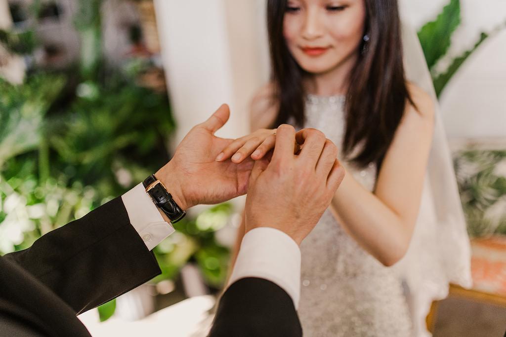 Indoor Wedding Ceremony Portrait, Bride in Silver Sequined BHDLN Wedding Dress | Tampa Intimate Elopement Venue Fancy Free Nursery
