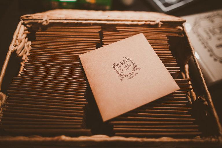 Printed Botanical Wedding Paper Goods on Brown Craft Paper