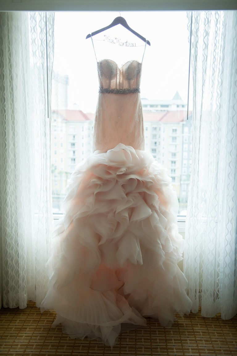 Blush Layered Mermaid Wedding Dress on Personalized Hanger