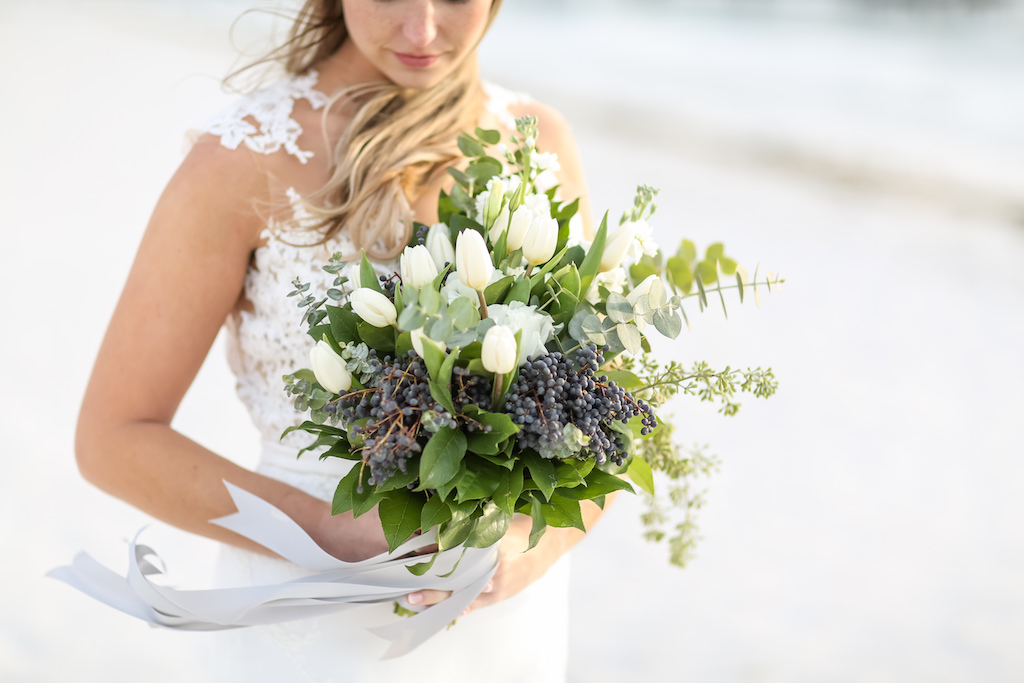 Outdoor Bridal Portrait with White Tulip, Blue Berries, and Greenery Bouquet with Gray Ribbon   Tampa Bay Wedding Photographer Lifelong Photography Studio