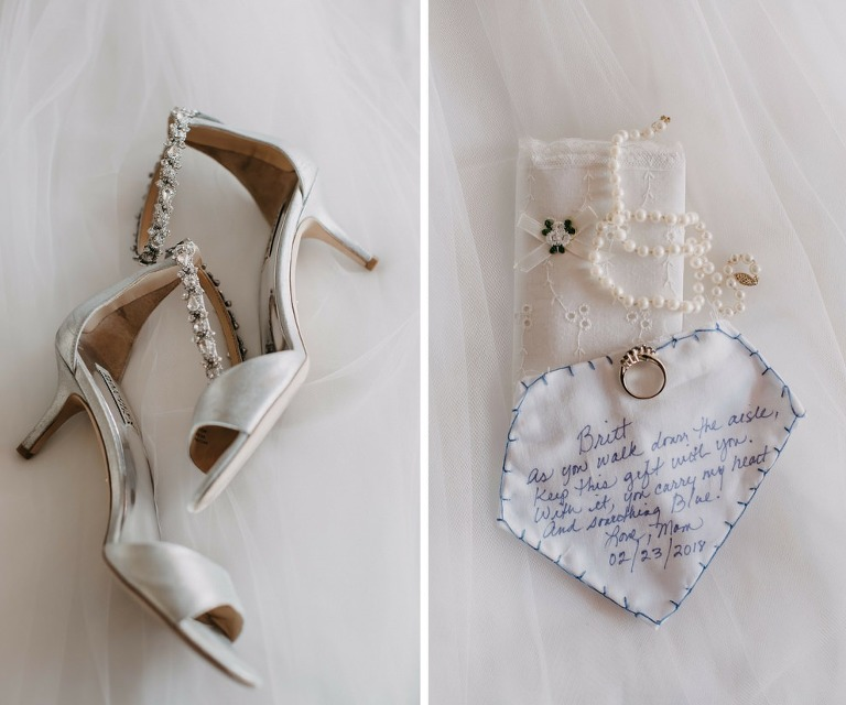 Open Toe Bejeweled Wedding Shoes and Bridal Accessories including Handwritten Something Blue Note From Mother of the Bride