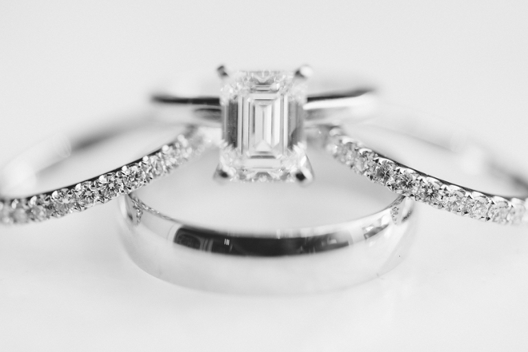 Wedding Engagement Ring Set with Diamond Band
