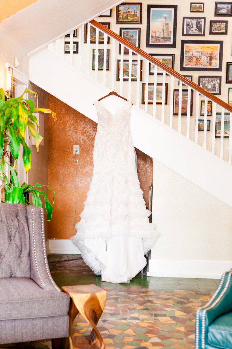 Mermaid Davids Bridal Wedding Dress on Hanger