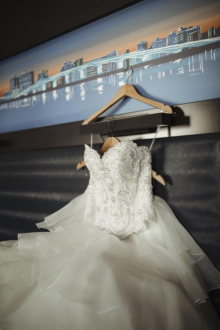 Strapless Ballgown wedding Dress on Hanger