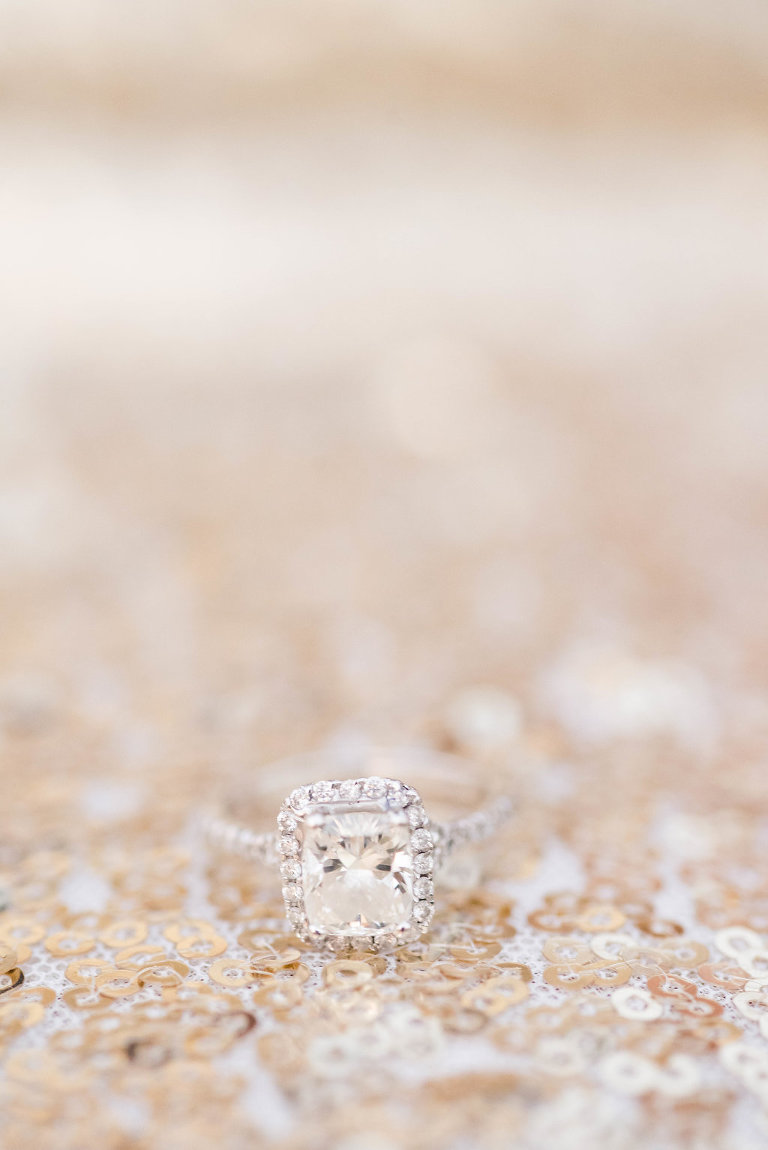 Square Cut Engagement Ring with Pave Diamond Band