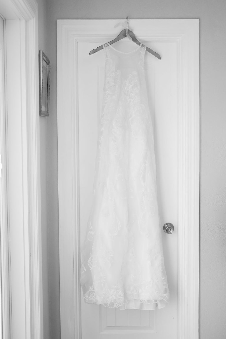 Lace Illusion Column Wedding Dress on Hanger