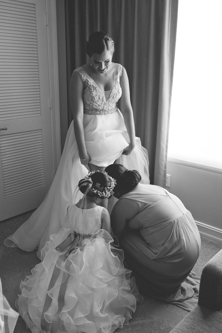 Bride Getting Ready Portrait with Flower Girl with Jeweled Ribbon Floral Crown and Layered Skirt | Sarasota Wedding Photographer Cat Pennenga Photography