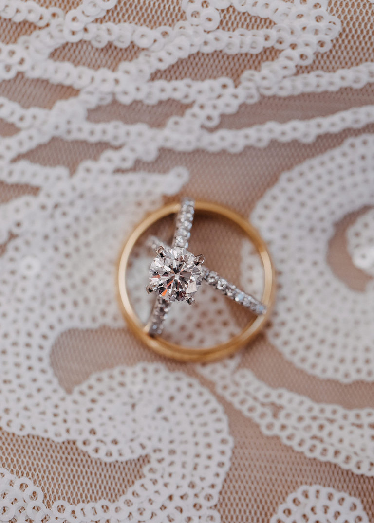 Diamond Wedding and Engagement Ring and Gold Wedding Band