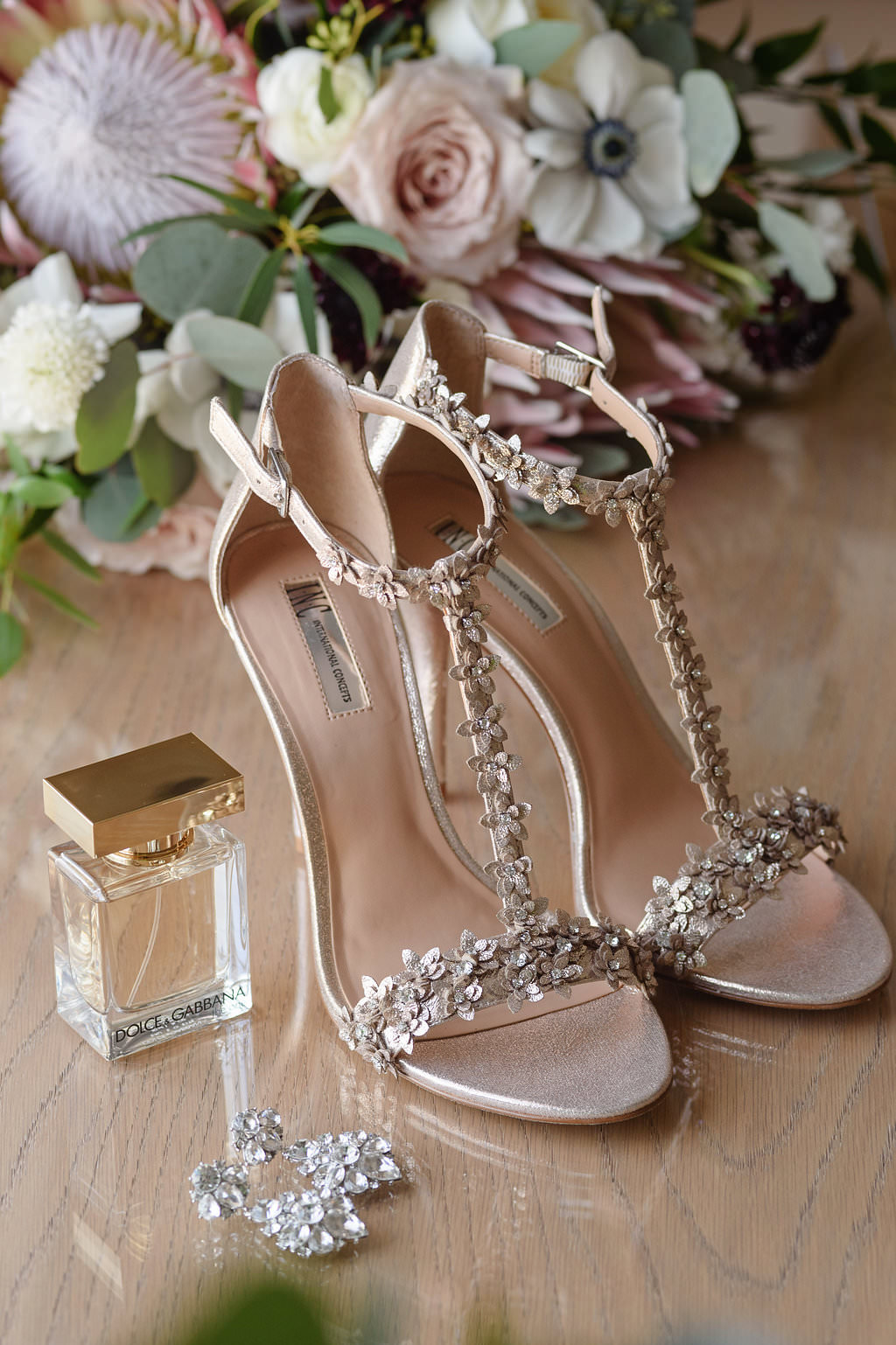 INC Beaded Open Toe Wedding Shoes with Bridal Accessories and Blush Pink, White Floral Anemone and Protea Bouquet with Greenery