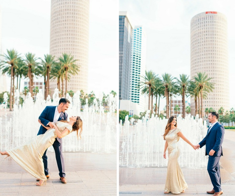 Downtown Tampa Riverwalk Classy Engagement Portrait, Bride in Long Gold Sequin Dress, Groom in Navy Blue Suit with Brown Leather Shoes