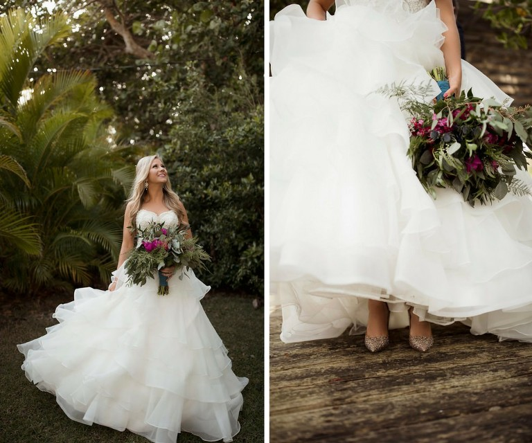 Outdoor Bridal Portrait In Strapless Layered Ballgown Wedding Dress with Pointed Toe Rainbow Glitter Kate Spade Wedding Shoes with Fuchsia Floral and Greenery Bouquet Wrapped in Turquoise Ribbon