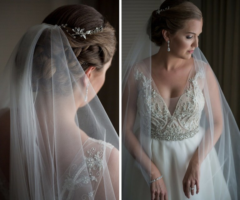 Bride Getting Ready Portrait, with Delicate Silver Floral Hair Crown, Wearing Pearl and Lace Beaded Belted Wedding Dress | Sarasota Wedding Photographer Cat Pennenga Photography