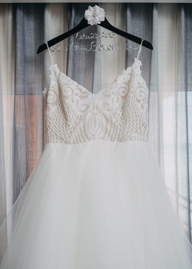 Patterned Bodice Spaghetti Strap Layered Ballgown Blush by Hayley Paige Wedding Dress on Personalized Hanger