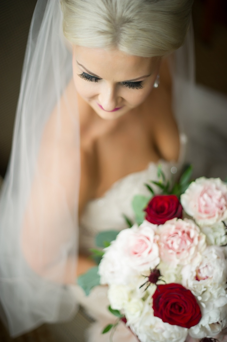 Bridal Portrait with Red Rose, Blush Pink Carnation and Greenery and Burgundy Thistle Bouquet | Tampa Bay Wedding Photography Andi Diamond Photography | Hair and Makeup Michele Renee The Studio