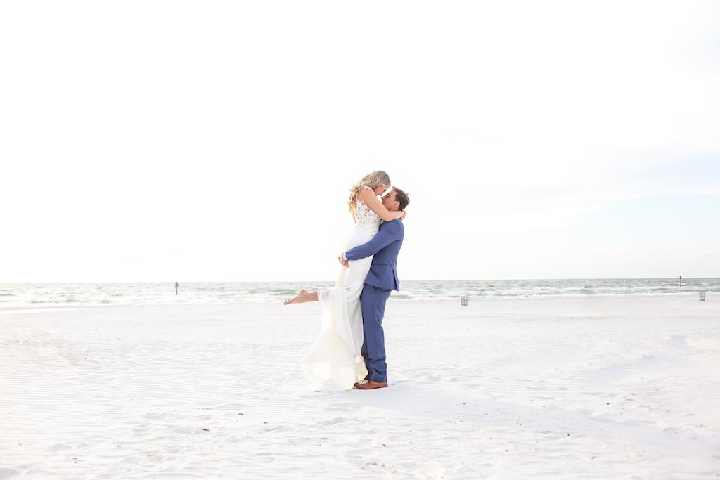 Outdoor Beach Wedding Portrait, Bride in Lace Applique Bodice Dress   Clearwater Beach Wedding Photographer Lifelong Photography Studios