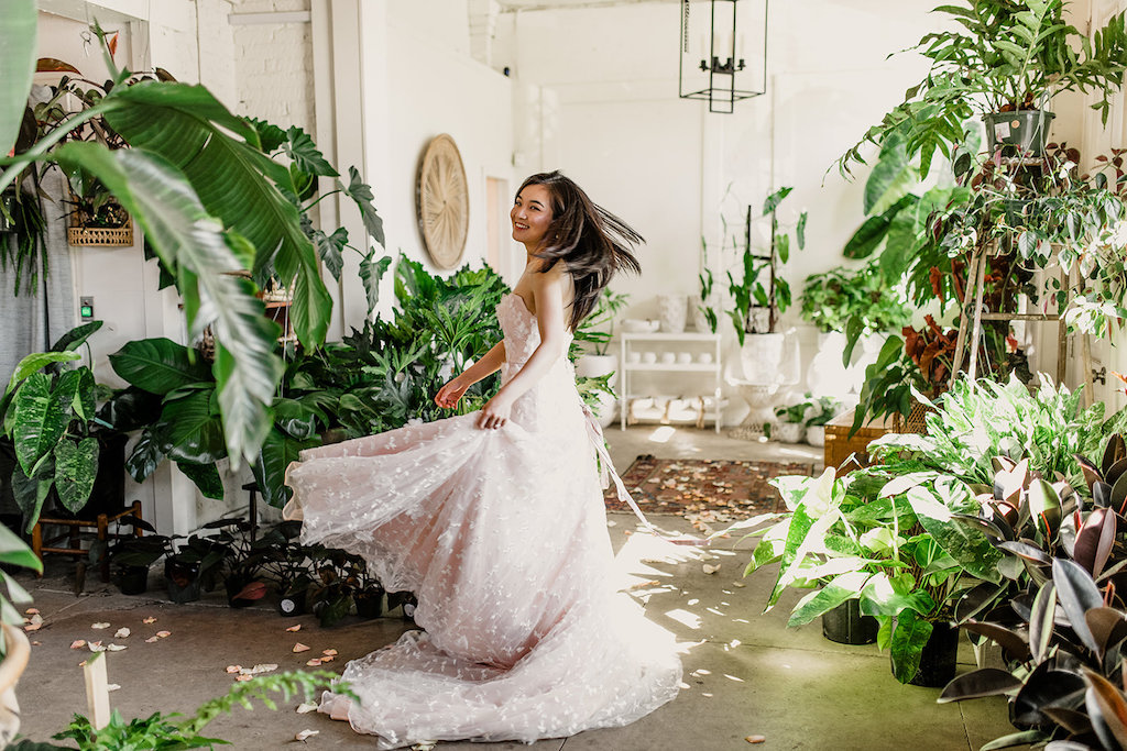 Indoor Bridal Portrait in Strapless Pink Peach Wedding Dress | Tampa Intimate Wedding Venue Fancy Free Nursery