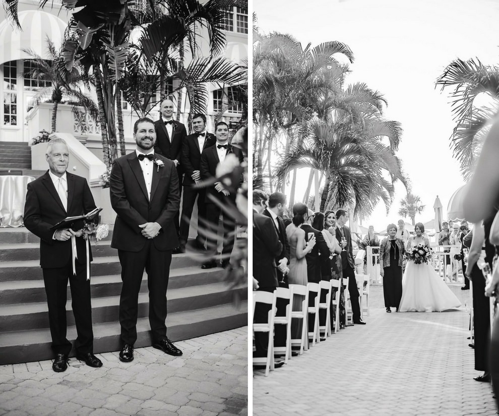 Outdoor Hotel Courtyard Wedding Ceremony Portrait with Folding Chairs | Historic Waterfront Hotel St. Pete Beach Wedding Venue The Don CeSar | Photographer Marc Edwards Photographs | Planner Parties A La Carte