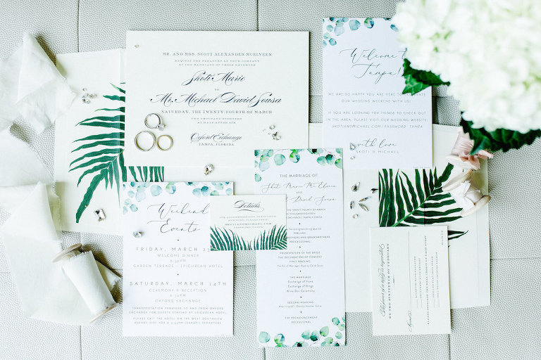 Watercolor Green Fern on White with Black Script Wedding Invitation Suite