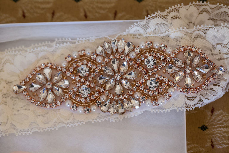 Rose Gold Jeweled Garter Bridal Wedding Accessory
