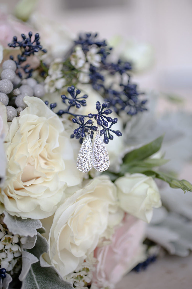 Crystal Drop Bridal Earrings and Blue, White Rose and Blush Pink Floral Bouquet with Greenery