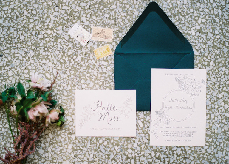Floral Illustrated Wedding Invitation Suite with Teal Blue Green Envelope