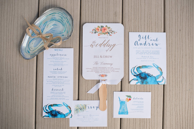 Nautical Blue and Orange Coastal Wedding Invitation Suite and Ceremony Program Fan with Crabs and Watercolor Florals