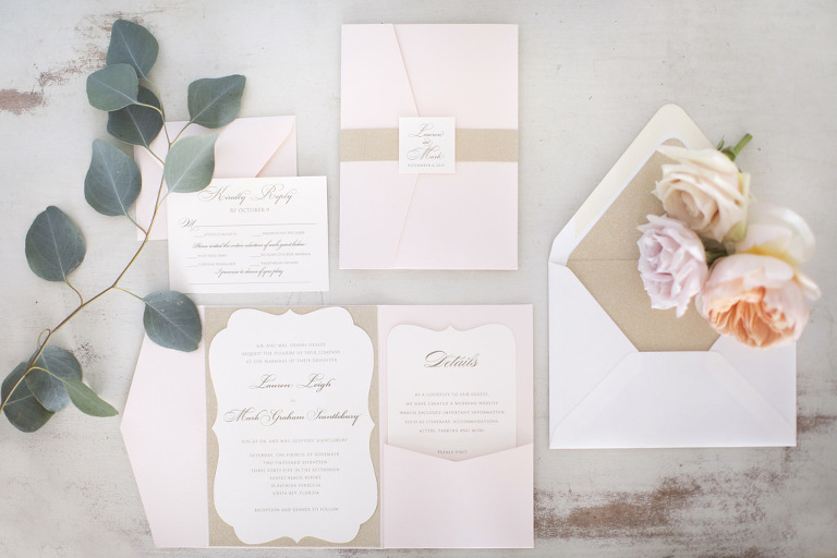 Blush Pink, Brown Craft Paper and White Wedding Invitation Suite