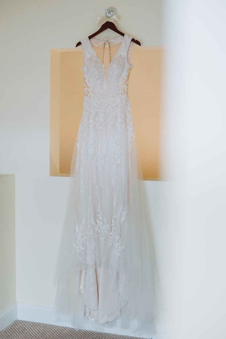 V Neck Illusion Lace Cutout Wedding Dress on Hanger